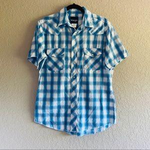 Wrangler Retro Blue Plaid Pearl Snap Button Up